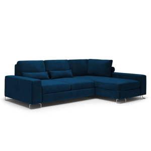 Královsky modrá rozkládací rohová pohovka se sametovým potahem Windsor & Co Sofas Diane, pravýroh
