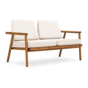 Venkovní dvoumístná pohovka v bílé barvě s konstrukcí z masivního akáciového dřeva Calme Jardin Capri Premium