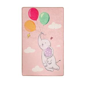 Růžový dětský protiskluzový koberec Chilai Balloons,140x190cm