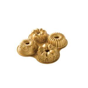 Forma na 4 mini bábovky ve zlaté barvě Nordic Ware Minimix, 2,1 l