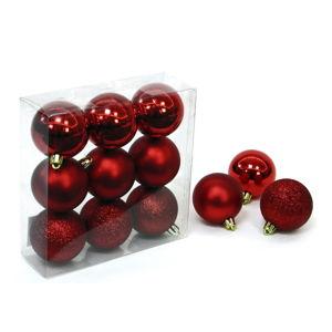 Sada 9 červených vánočních ozdob Unimasa Caja