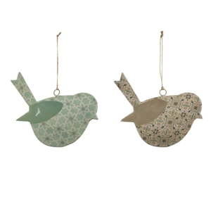 Sada 2 malých závěsných dekoracích z posmaltovaného kovu s motivem ptáka EgoDekor Aqua, 11,5x10,5 cm