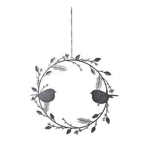 Vánoční závěsný věnec s ptáky ve stříbrno-šedé barvě Ego Dekor