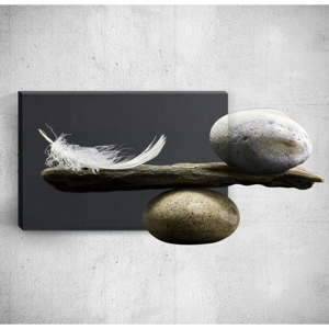 Nástěnný 3D obraz Mosticx Feather With Pebbles, 40 x 60 cm