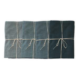 Sada 4 látkových ubrousků s příměsí lnu Linen Couture Blue, 43 x 43 cm
