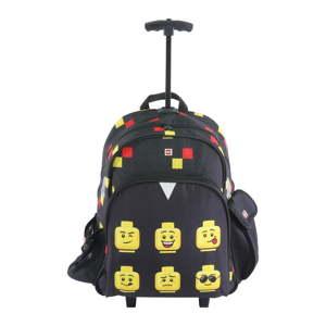 Černý školní batoh na kolečkách LEGO® Faces