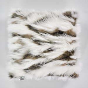 Bílo-hnědý povlak na polštář WeLoveBeds Fluffy Milk and Cacao,50x50cm