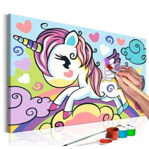 DIY set na tvorbu vlastního obrazu na plátně Artgeist Colourful Unicorn, 33 x 23 cm
