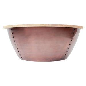 Příruční stolek v měděné barvě s deskou z mangového dřeva LABEL51 Indi, Ø38 cm