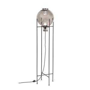 Volně stojící lampa z recyklovaného skla a kovu Velvet Atelier Fume, výška 145 cm