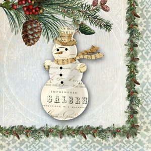 Balení 10 papírových ubrousků s vánočním motivem PPD Winter Lodge Snowman
