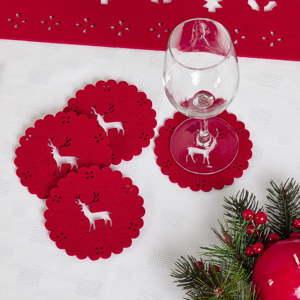 Sada 4 červených podtácků z plsti Neviti Reindeer