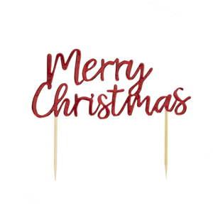 Červený dekorativní vánoční zápich do dortu Neviti Merry Christmas