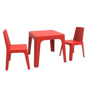 Červený dětský zahradní set 1 stolu a 2 židliček Resol Julieta