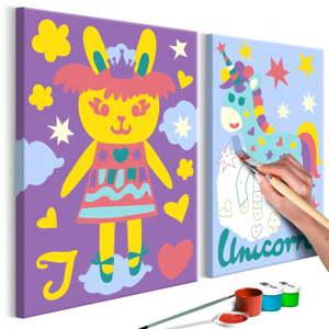 DIY set na tvorbu vlastního dvoudílného obrazu na plátně Artgeist Rabbit & Unicorn, 33 x 23 cm