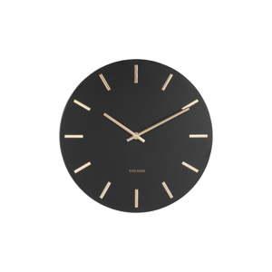 Černé nástěnné hodiny s ručičkami ve zlaté barvě Karlsson Charm,ø30cm