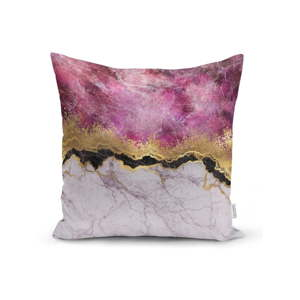 Povlak na polštář Minimalist Cushion Covers Marble With Pink And Gold, 45 x 45 cm