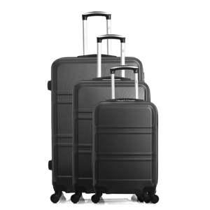 Sada 3 černých cestovních kufrů na kolečkách Hero Utah