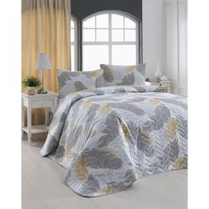 Set prošívaného přehozu a 2 povlaků na polštáře Eponj Home Altin Yaprak Grey, 200x220cm