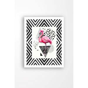 Nástěnný obraz na plátně v bílém rámu Tablo Center Flamingo Party, 29 x 24 cm
