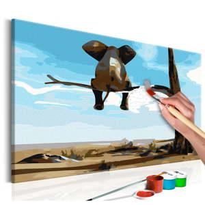 DIY set na tvorbu vlastního obrazu na plátně Artgeist Elephant In A Tree, 60x40 cm