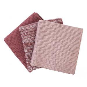 Sada 3 růžových pletených bavlněných utěrek na nádobí Blomus, 25x25cm