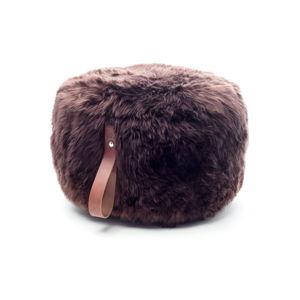 Tmavě hnědý puf z ovčí kožešiny s hnědým detailem Royal Dream,⌀ 60cm