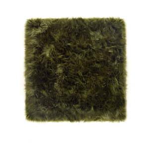 Tmavě zelený koberec z ovčí kožešiny Royal Dream Zealand Square, 70 x 70 cm