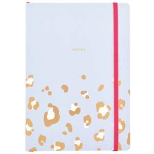 Bledě modrý zápisník o formátu A5 s leopardím vzorem Busy B, 96 stran