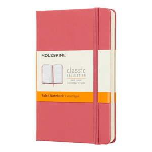 Růžový linkovaný zápisník v pevné vazbě Moleskine Daisy, 192stran