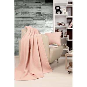 Set světle růžového přehozu a polštáře Kate Louise Tricot Blanket Set Hanzade