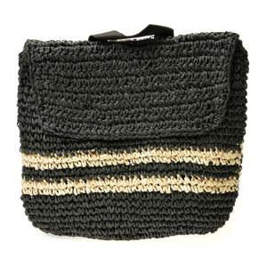 Dámský černý slaměný batoh Mangotti Bags