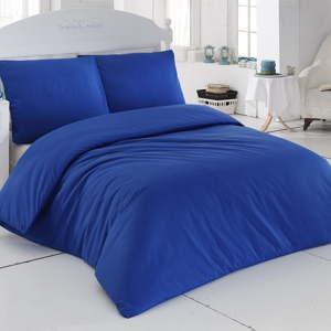 Bavlněné povlečení s prostěradlem a 2 povlaky na polštáře Plain Blue,200x220cm