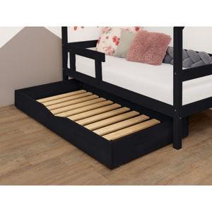 Černý dřevěný šuplík pod postel s roštem BenlemiBuddy, 90x160cm