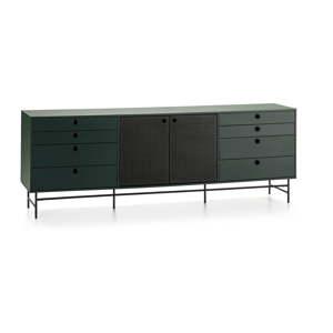 Černo-zelená komoda Teulat Punto, šířka 212 cm