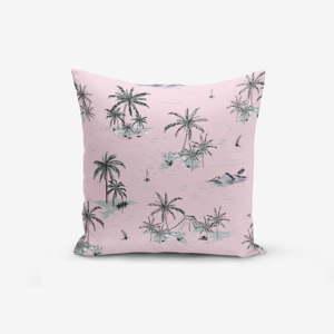Růžový povlak na polštář Minimalist Cushion Covers Palm Adası, 45x45cm