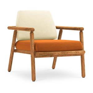Venkovní křeslo v béžové a oranžové barvě s konstrukcí z masivního akáciového dřeva Calme Jardin Capri