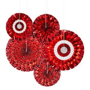 Sada 5 červených papírových dekorací Neviti Red & White Dots Pinwheel
