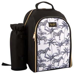Černobílý chladící batoh s piknikovým vybavením pro 2 osoby Navigate Madagaskar, 15 l
