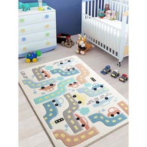 Dětský bílý koberec Confetti Baby Car,100x150cm