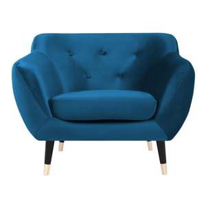 Modré křeslo s černými nohami Mazzini Sofas Amelie