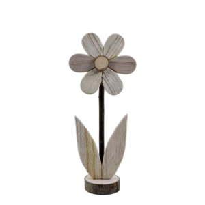 Střední dřevěná dekorace ve tvaru květiny s motivem květiny EgoDekor, 12x28,5 cm