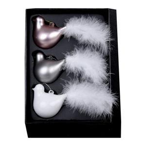 Sada 3 skleněných vánočních ozdob ve tvaru ptáčka s peřím Ego Dekor